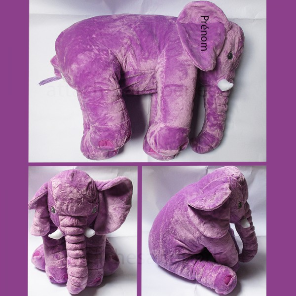 Peluche éléphant violet 60cm - Attaches And Perles