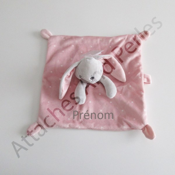 Doudou lapin rose personnalisable - Attaches And Perles