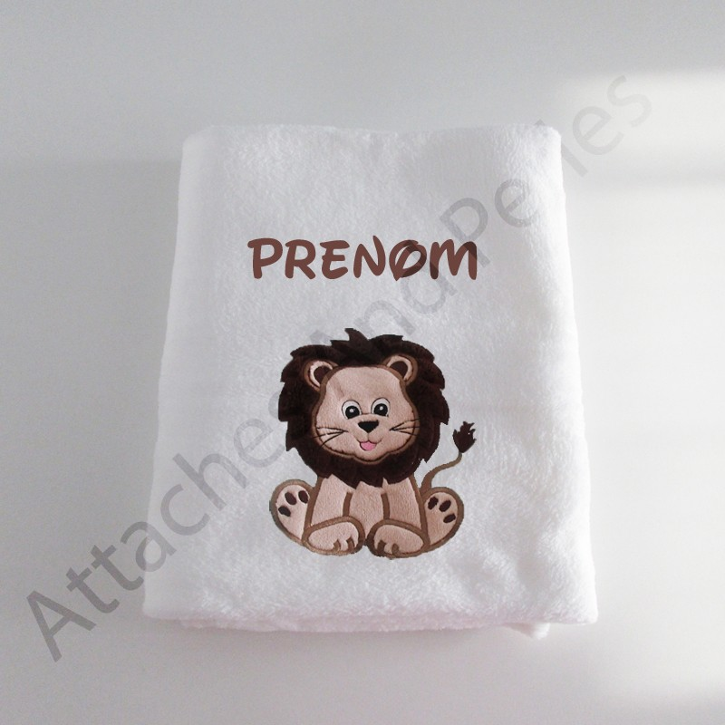 Couverture blanche lion personnalisable - Attaches And Perles