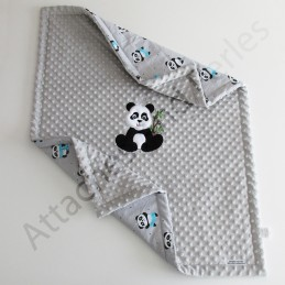 Couverture minky coton panda personnalisable - Attaches And Perles