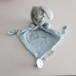 Doudou lapin bleu personnalisable - Attaches And Perles