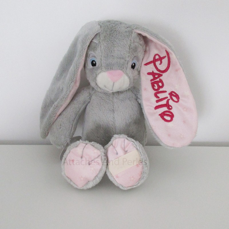 Peluche lapin gris et rose personnalisable - Attaches And Perles