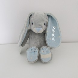 Peluche lapin gris et bleu personnalisable - Attaches And Perles