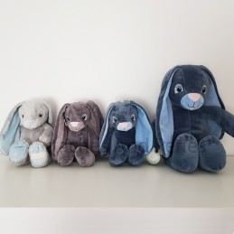 Peluche lapin gris personnalisable - Attaches And Perles