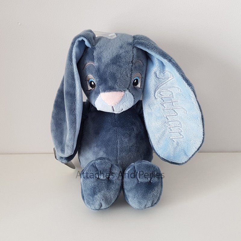 Peluche lapin bleu personnalisable - Attaches And Perles