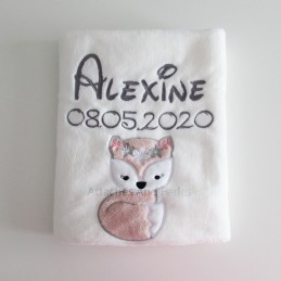 Couverture blanche renarde personnalisable - Attaches And Perles