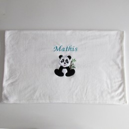 Couverture blanche panda personnalisable - Attaches And Perles