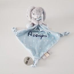 Doudou lapin bleu personnalisable - Attaches And Perles