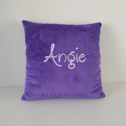 Coussin carré minky personnalisable - Attaches And Perles
